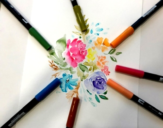 flores con tombow