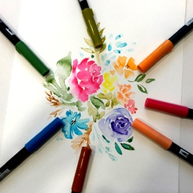 flores con Tombow DB
